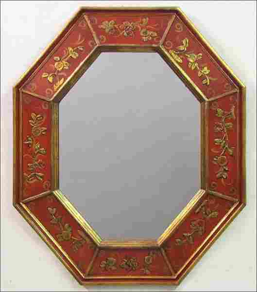 742117: CHINESE LACQUERED AND PARCEL-GILT OCTAGONAL MIR