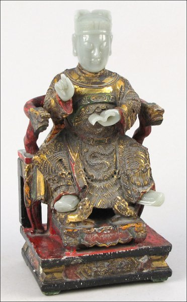 743002: CHINESE PAINTED, GILT, AND CARVED WOOD SEATED S
