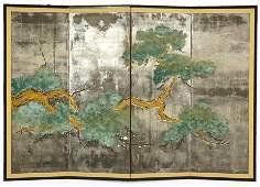 A Japanese Shijo School Four-Panel Screen.