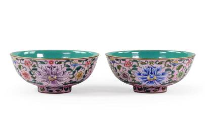 A Pair of Chinese Enameled Porcelain Cups.