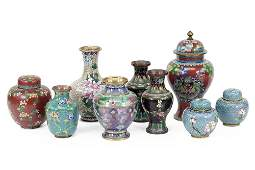 A Pair of Cloisonne Covered Jars.