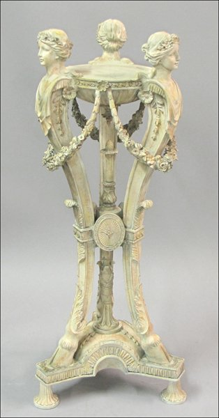 751014: CONTINENTAL STYLE PAINTED WOOD FIGURAL PEDESTAL