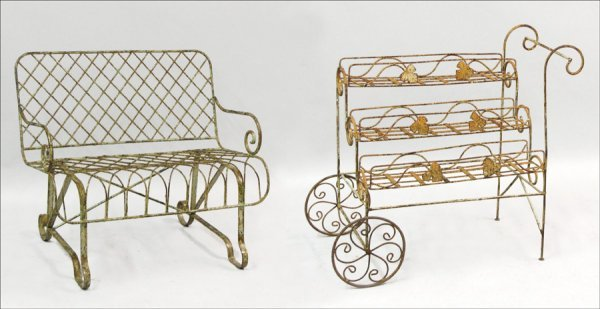 751018: PAINTED IRON PATIO BENCH.