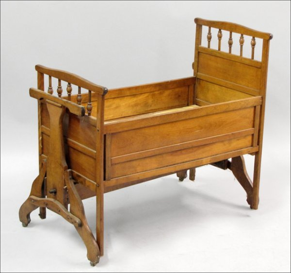 751024: CARVED MAPLE CRIB.