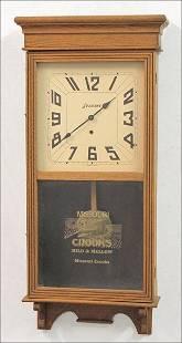 EARLY TO MID 20TH CENTURY OAK WALL CLOCK.