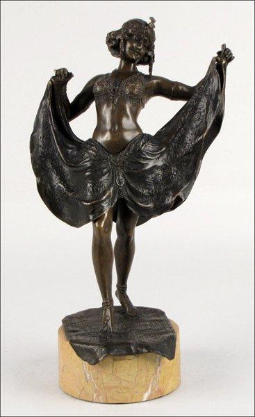 752010: ART DECO STYLE BRONZE FIGURE OF A DANCER.