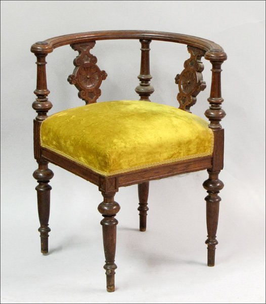 761005: ENGLISH CARVED OAK CORNER CHAIR.