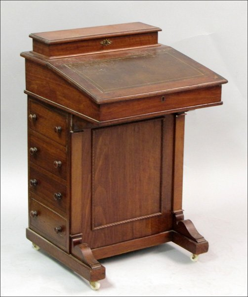 761008: ENGLISH MAHOGANY DAVENPORT DESK.