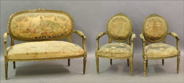 761011: LOUIS XVI GESSO AND GILTWOOD PARLOR SUITE.