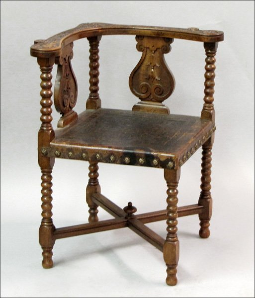 761015: JACOBEAN STYLE CARVED CORNER CHAIR.