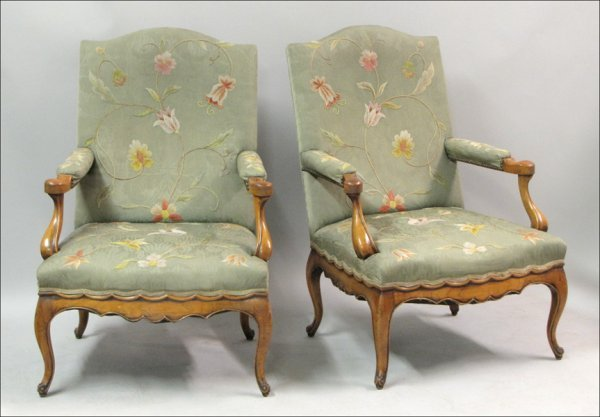 761021: PAIR OF WALNUT AND NEEDLEPOINT UPHOLSTERED FAUT