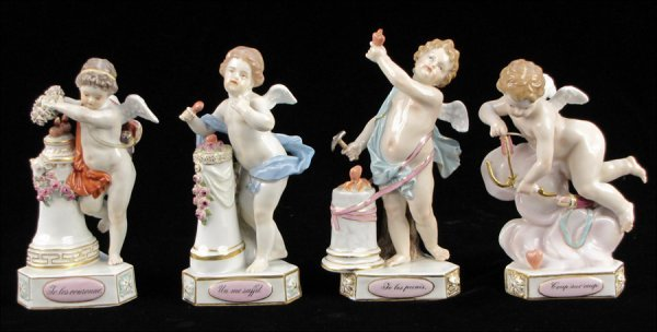 762036: FOUR MEISSEN GILT AND PAINTED PORCELAIN CHERUBS