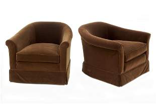 A Pair of Stanford Brown Velvet Club Chairs.