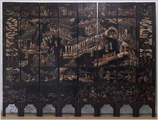 A Baker Chinoiserie Eight-Panel Floor Screen.