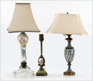 Three Blue and White Lamps.