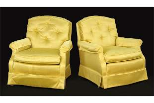 A Pair of Baker Yellow Silk Chairs.