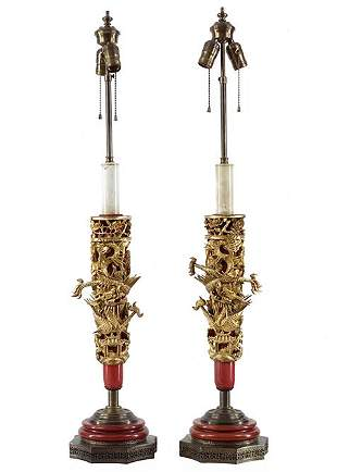 A Pair of Chinoiserie Table Lamps.