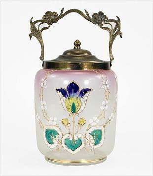 Art Nouveau Enamel Biscuit Jar.
