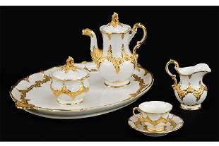 A Meissen Gilt Porcelain Coffee Service.