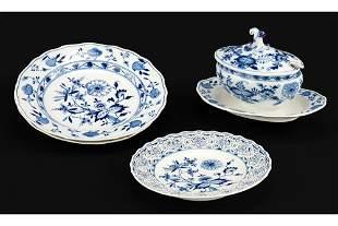 A Collection of Meissen Blue Onion Porcelain.