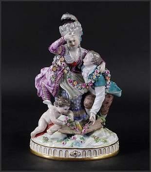 A Meissen Porcelain Figure of The Broken Bridge.