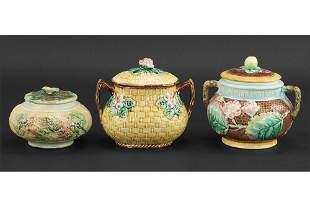 Three Majolica Covered Sugar Bowls.