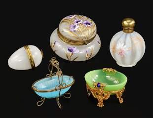 Victorian Enamel Art Glass Dresser Items.