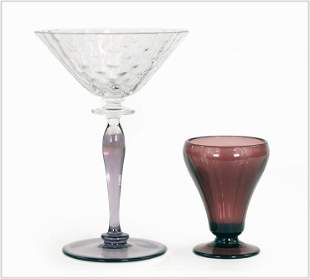 A Group of Amethyst Glass Stemware.