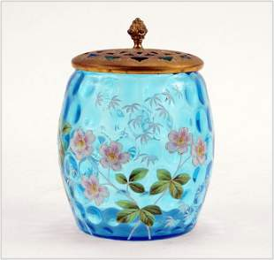 Victorian Blue Coinspot and Enamel Biscuit Jar.