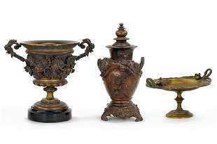 Two Bronze Urns and a Bronze Tazza.