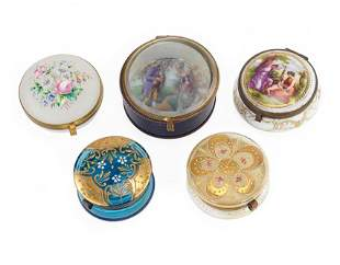 A Group of Victorian Glass and Porcelain Dresser Jars.