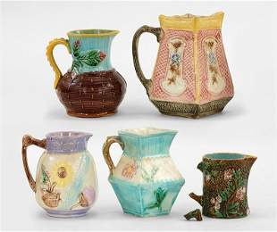 A Group of Five Majolica Cream Pitchers.