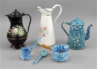 A Group of Granite Ware and Enamel Coffee Pots.