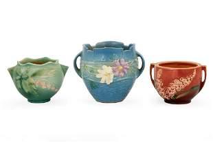 Three Roseville Pottery Vases.