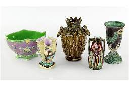 A Group of Five Majolica Vases.