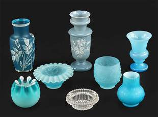 A Group of Blue Decorative Glass.