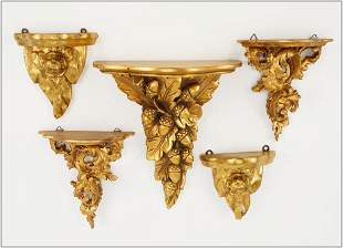 Two Pairs of Giltwood Wall Brackets.