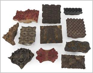 A Collection of Eleven Wood Textile Printing Blocks.