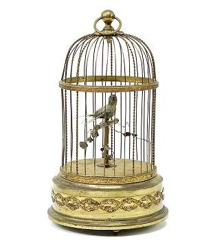 French Automaton Singing Bird in Cage.