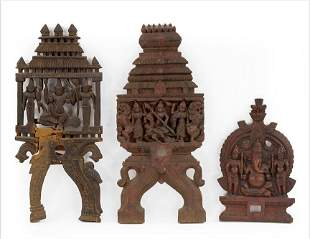 Three Indian Carved Wood Panels.