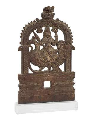 An Indian Carved Wood Panel.