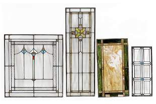 A Group of Four Leaded Stained Glass Windows.