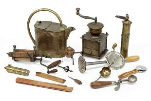 A Group of Brass and Wood Handle Vintage Kitchen Items.