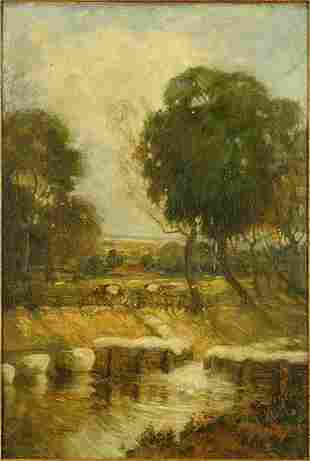 Artist Unknown (British, 19th-20th Century) Farm Scene.