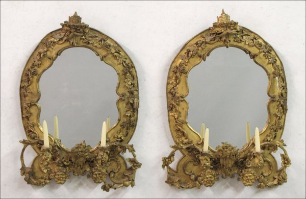 771010: PAIR OF EARLY 19TH CENTURY ENGLISH GESSO AND GI