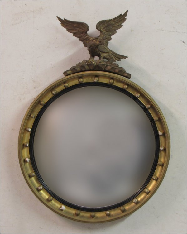 771013: FEDERAL STYLE GESSO AND GILTWOOD CONVEX MIRROR.