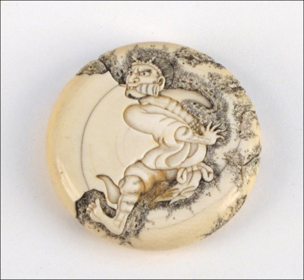 771019: CARVED AND PAINTED IVORY NETSUKE.