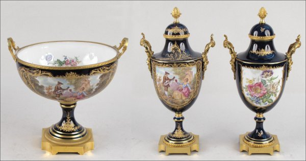 771189: PAIR OF SEVRES STYLE COBALT PORCELAIN AND BRONZ