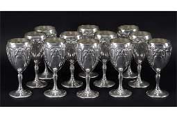 A Set of Twelve Fisher Sterling Silver Goblets.