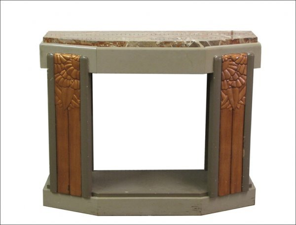 FRENCH ART DECO PAINTED AND COPPER DECORATIVE MARBLE TO